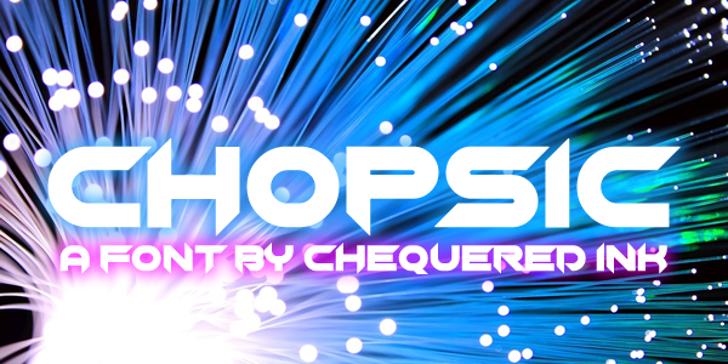 Chopsic Font screenshot electric blue