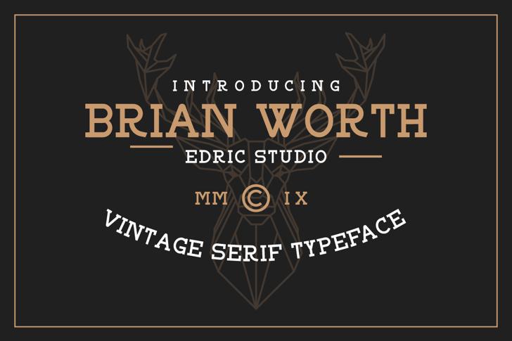 BRIAN WORTH Font design screenshot