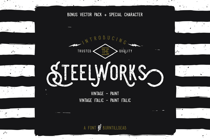 Steelworks Vintage Demo Font design screenshot