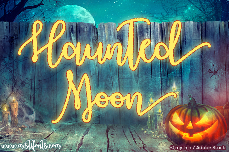 Haunted Moon Font text book