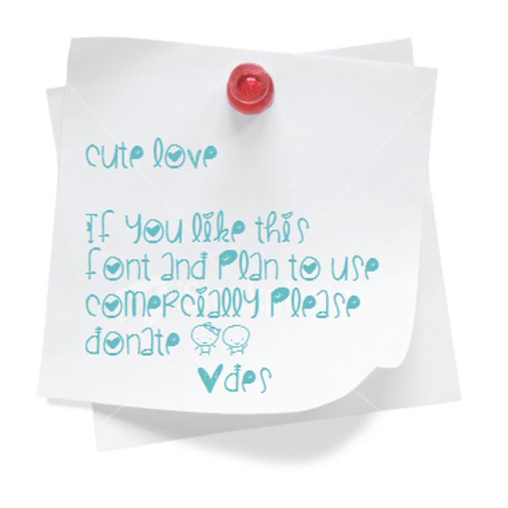 CuteLove Font handwriting design