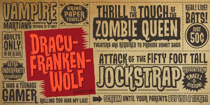 DracuFrankenWolf BB Font text poster