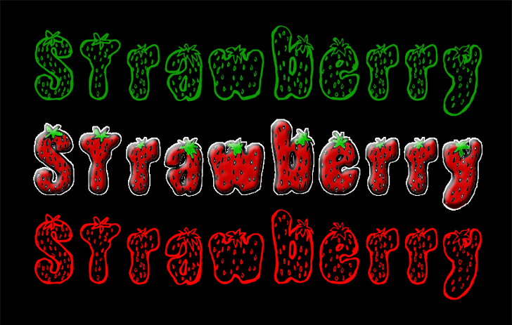 Strawberry Font cartoon design