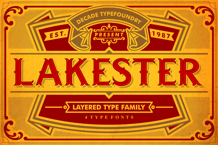 LAKESTERINLINELAYER3DEMO Font text poster