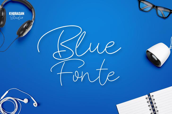 Blue Fonte Font poster