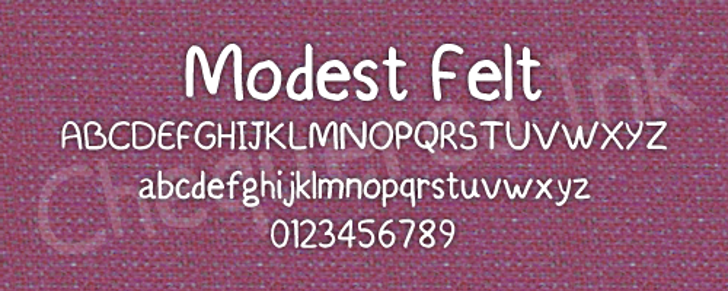 Modest Felt Font screenshot design