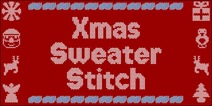 Xmas Sweater Stitch Font vector graphics pattern