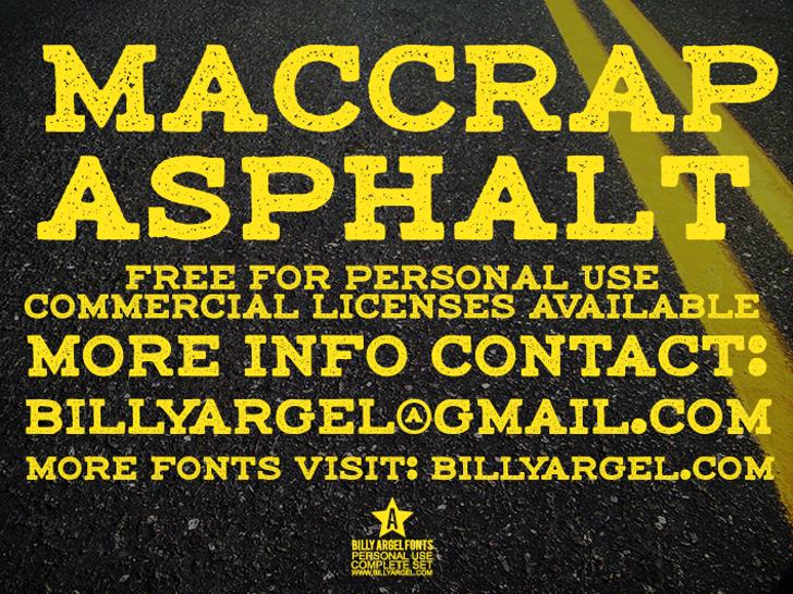 maccrap asphalt personal use Font poster yellow