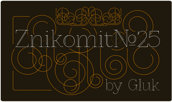 ZnikomitNo25 Font design illustration