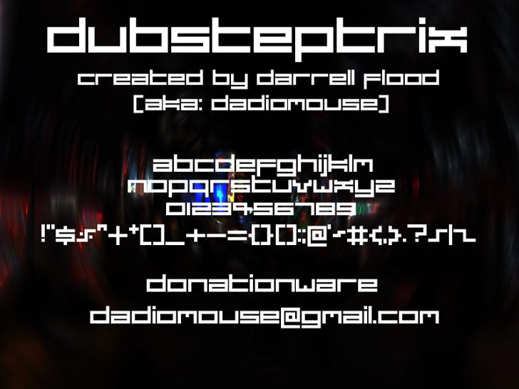 Dubsteptrix Font screenshot design