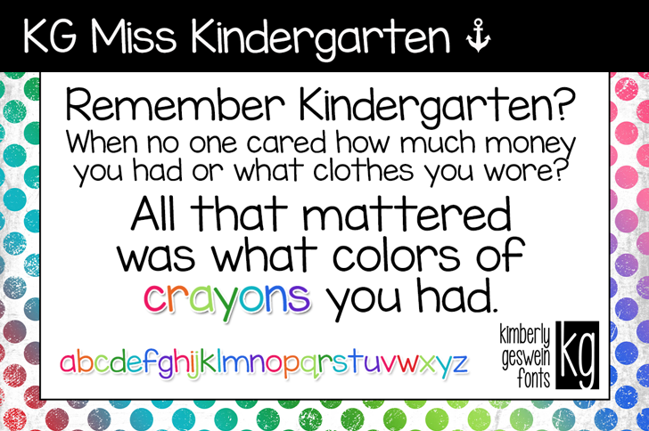 KG Miss Kindergarten Font text screenshot