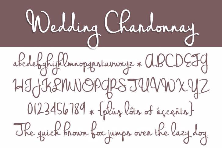 Wedding Chardonnay Font handwriting text