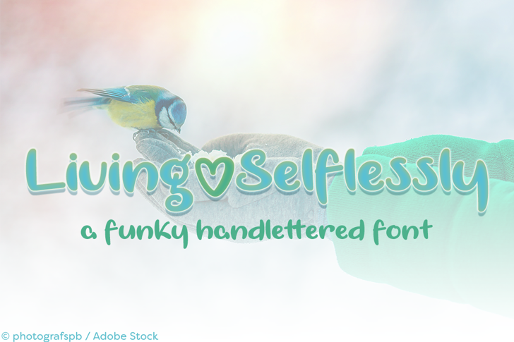 Living Selflessly Font design bird