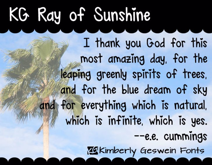 KG Ray of Sunshine Font text plant