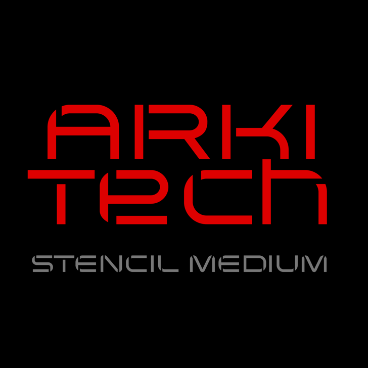 Arkitech Stencil Font design screenshot