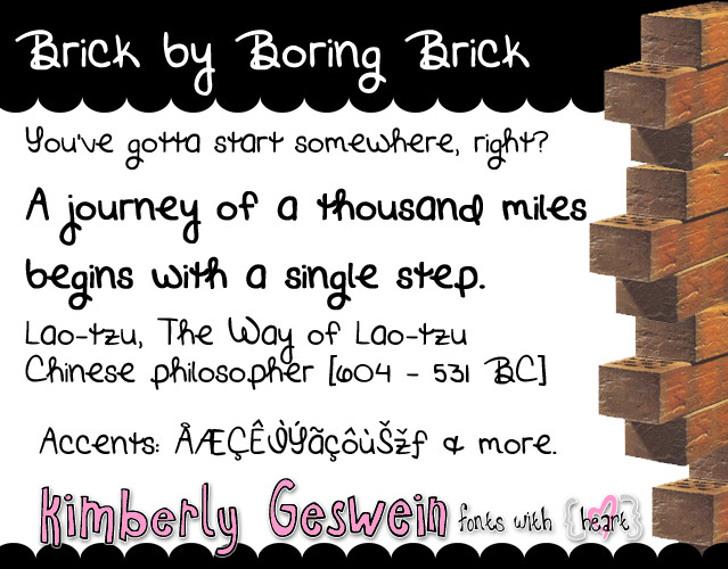 Brick by Boring Brick Font screenshot graphic