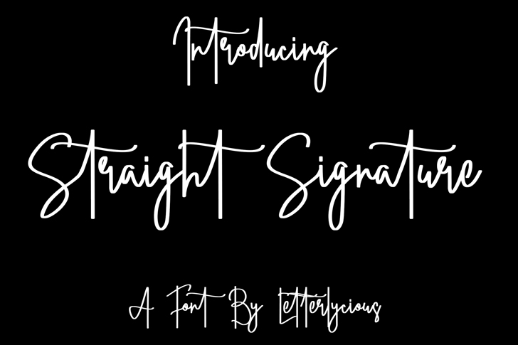 Straight Signature Font poster