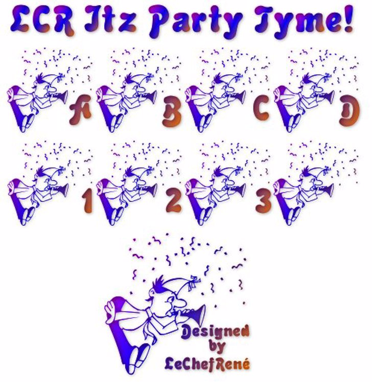 LCR Itz Party Tyme! Font cartoon drawing