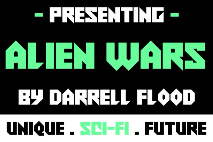 Alien Wars Font screenshot design