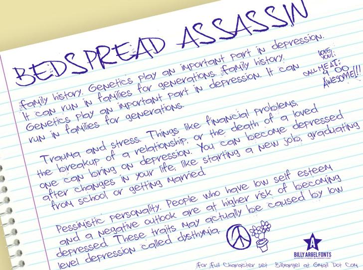 Bedspread Assassin Font handwriting letter