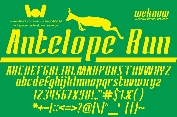 ANTELOPE Font poster cartoon