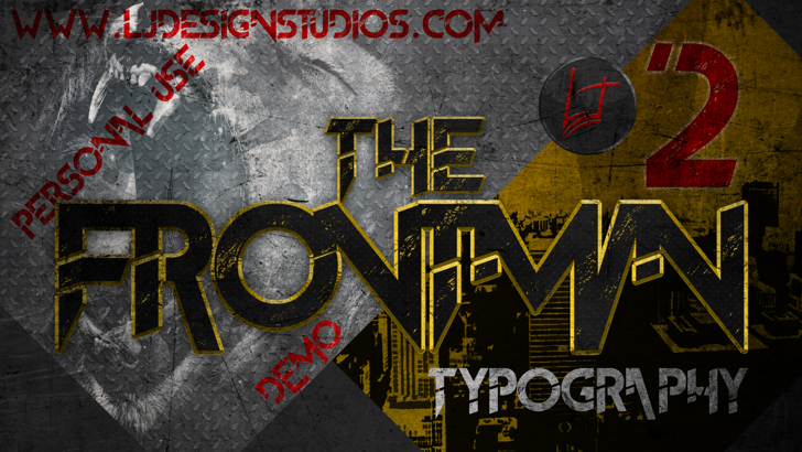 The FrontMan 2 demo Font poster book