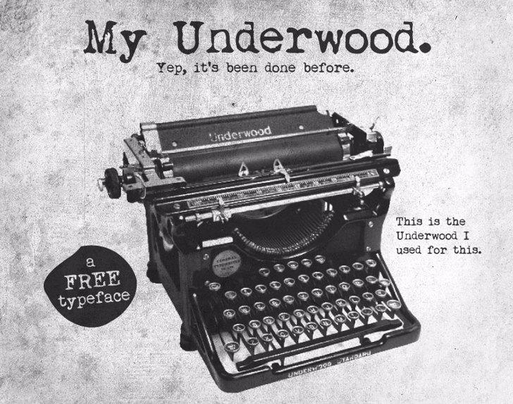 My Underwood Font typewriter office supplies