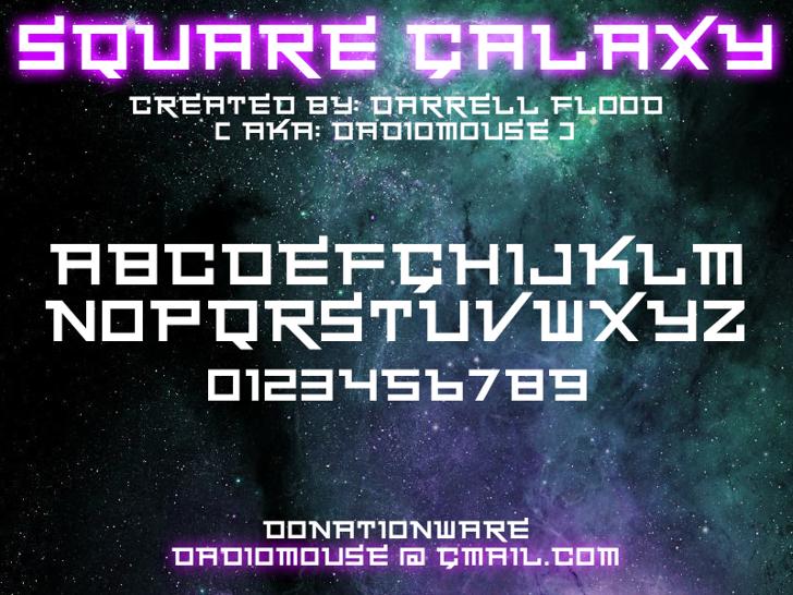 Square Galaxy Font text screenshot