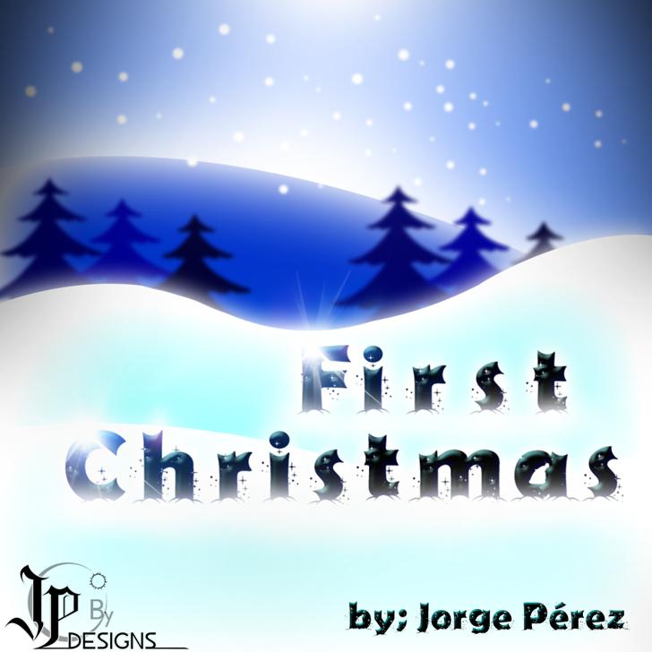 Firts Christmas Font cartoon design