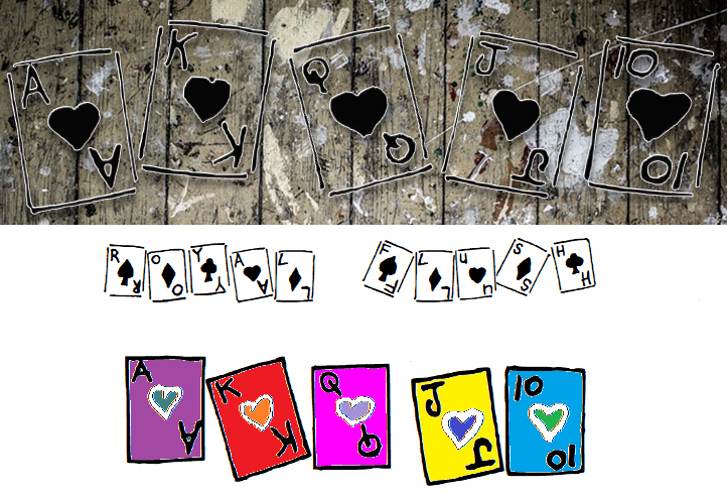 Royal Flush Font cartoon drawing