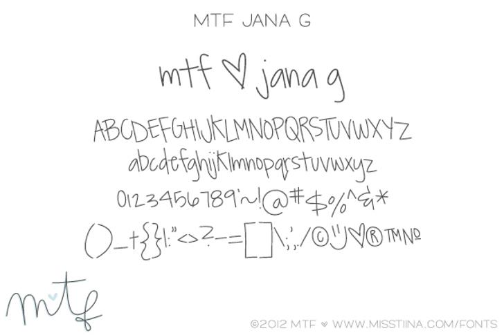 MTF JanaG Font handwriting text