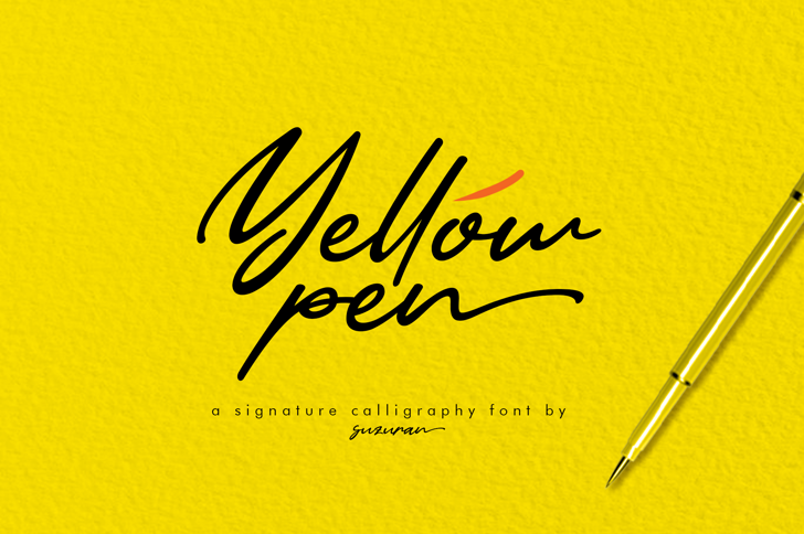 Yellow Pen Font handwriting design