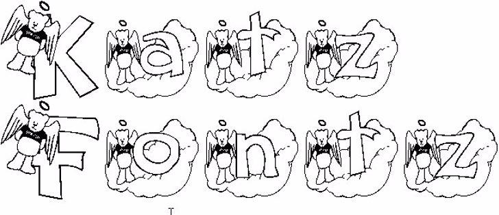 KG ANGELBEAR Font sketch drawing