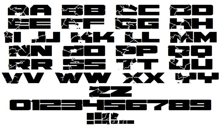 HulkSmash Regular Font Letters Charmap