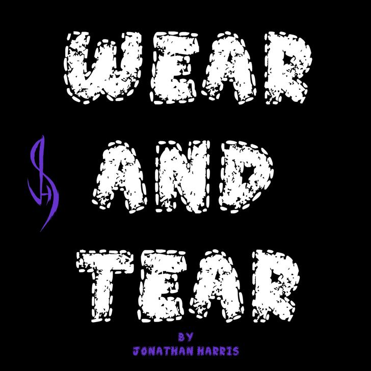 Wear and Tear Font cartoon drawing