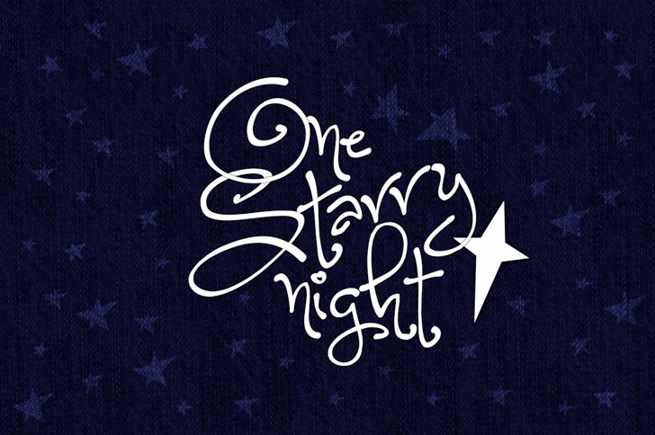 One Starry Night Font handwriting design