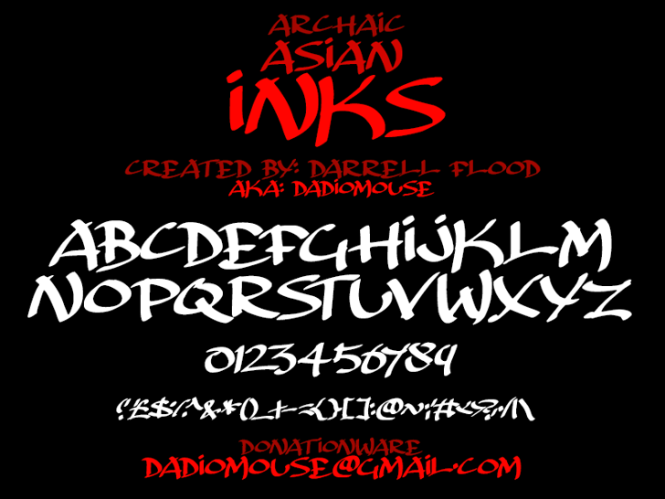 Archaic Asian Inks Font design text
