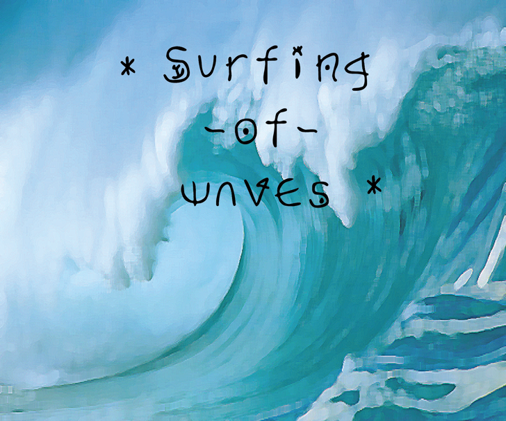 Surfing  of waves Font painting child art