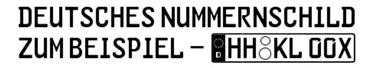 GL-Nummernschild Font design screenshot