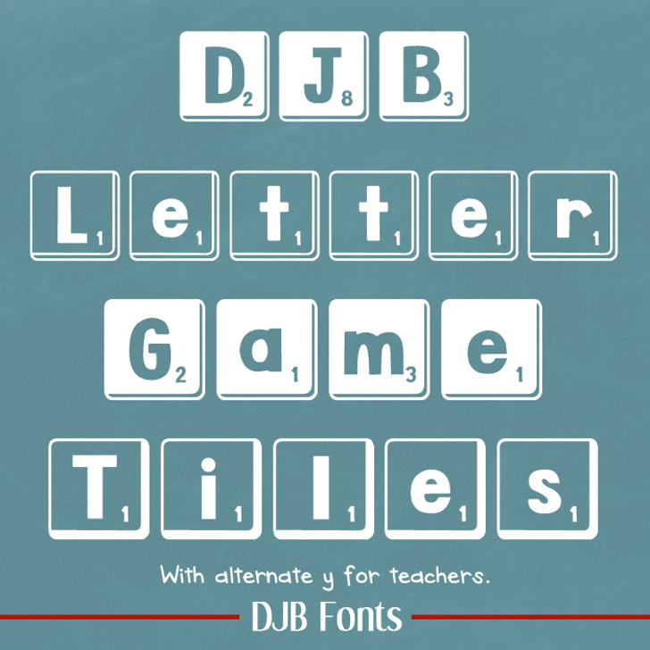 DJB Letter Game Tiles Font screenshot text