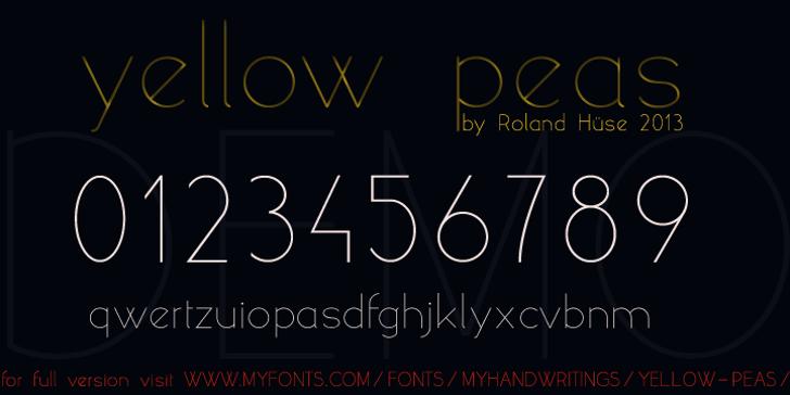 yellow peas demo Font text design