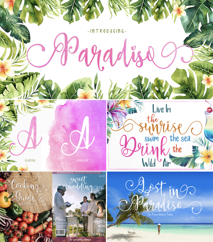 Paradiso Vintage Demo Font tree text