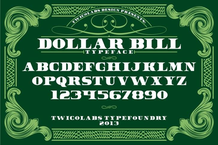 Dollar Bill Font design text