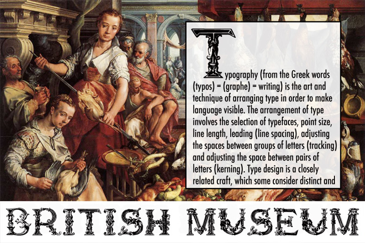 British Museum 1490 Font text poster
