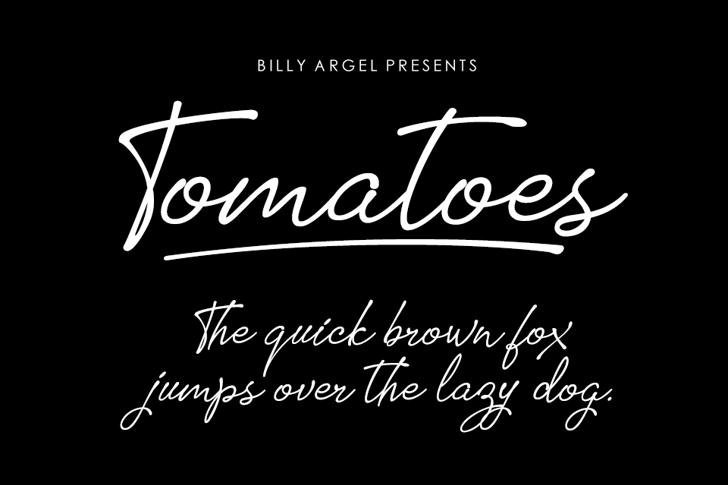 Tomatoes Font handwriting text