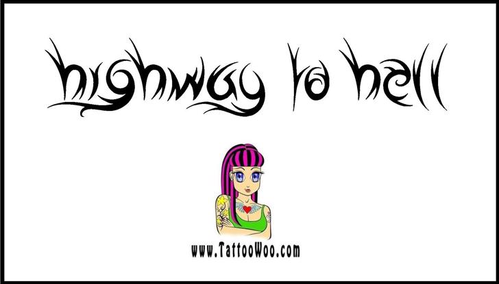 Highway to Hell Font cartoon drawing
