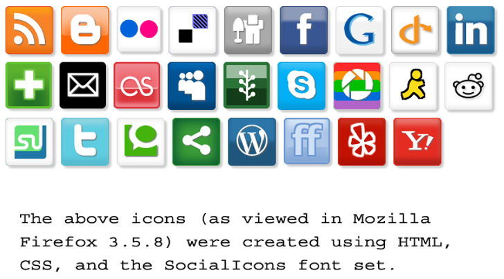 SocialIcons Font screenshot internet