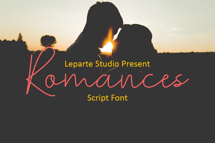 Romances Script Font kiss poster