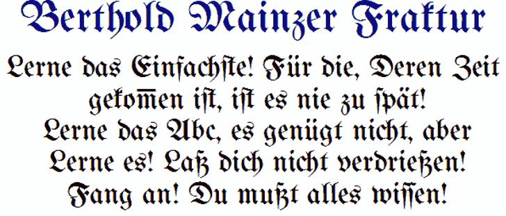 Bertholdr Mainzer Fraktur Font font text