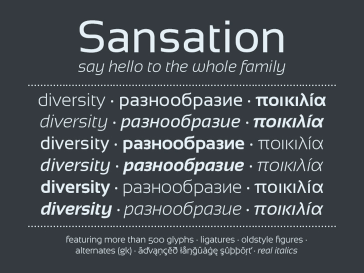 Sansation Font screenshot text